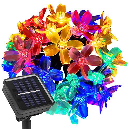 Beinhome Solar Blumen Lichterkette,21.3 Feet 30 LEDs 8 Modes Mehrfarbigen IP66 Wasserfest Solar Beleuchtung Garten Deko mit Licht Sensor für Außen,Zaun,Garten,Zuhause,Weihnachtsdeko Partys