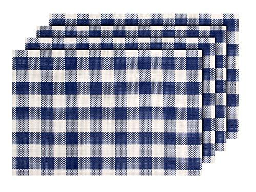 Lot de 4 Sets de table carreaux bleu blanc (TS-124) décoration sympa de qualité supérieure en PVC tressé: 45 x 30 cm. Le set de table a un bel aspect avec sa matière tissée et brillante Élégante