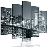Feeby Frames, Quadro multipannello di 5 Pannelli, Quadro su Tela, Stampa Artistica, Canvas Tipo A, 70x100 cm, Ponte, Città, Notte, New York, Brooklyn Bridge, Nero E Bianco