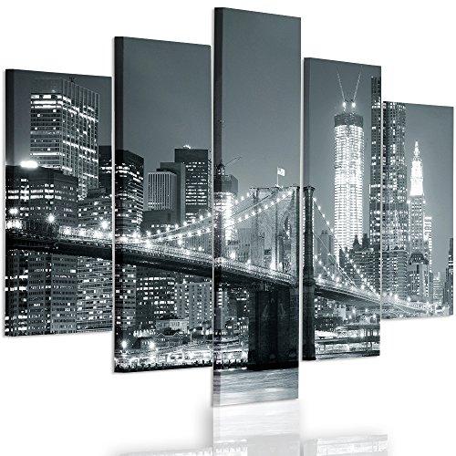 Feeby Frames, Cuadro en Lienzo - 5 Partes - Cuadro impresión, Cuadro decoración, Canvas Tipo A, 150x100 cm, Puente, Ciudad, Noche, Nueva York, Puente Brooklyn, Blanco Y Negro