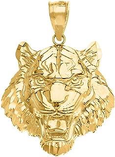 Elegant Roaring Tiger Head Charm Necklace Pendant (Small)