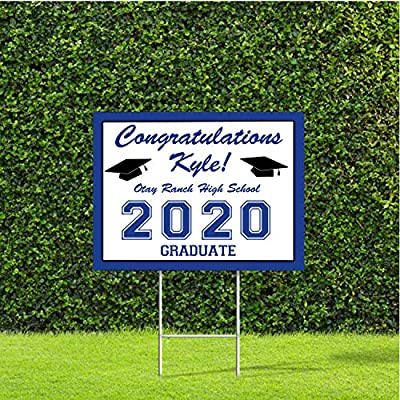 """Custom Graduation Yard Sign with Stake, 18""""x24"""" Class of 2020 High School College Color Options Available"""