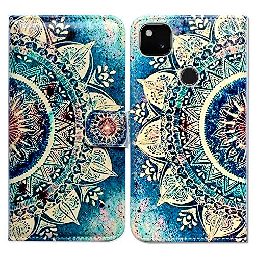 Google Pixel 4a Case [Not Fit Pixel 4a 5G],Bcov Green Circular Mandala Leather Flip Phone Case Wallet Cover with Card Slot Holder Kickstand for Google Pixel 4a 2020 -  118002316