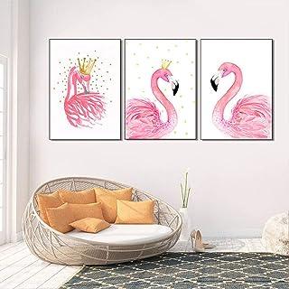 Imprimé Sur Toile 3 Panneau,Flamant Rose Couronne Nordique De L'Affiche Impression Impression De Toile Abstraite Moderne ...