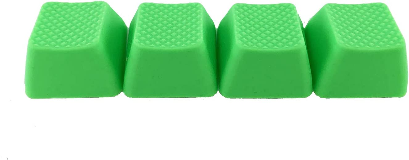 Big Chic Blank TPR Rubber Gaming Keycaps 4 Keys Set 1u for Cherry MX Mechanical Keyboards Compatible OEM (R0, Neon Green)