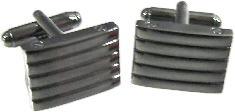 Geoffrey Beene Men's Ribbed Polished Gunmetal Rectangular Cuff Links