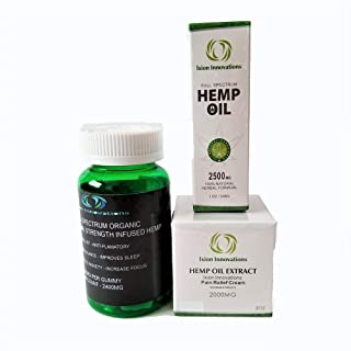 Hemp Pain Relief Cream 2000 mg - 2400 mg Hemp Gummies - 2500 mg Hemp Oil - for Pain - Therapy Relief - Rub - Ointment - Inflammation Formulation - Anxiety