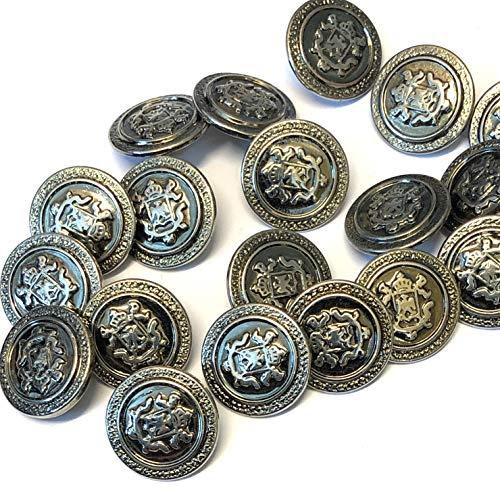 Knöpfe mit Wappen, gealtert, Zinn, 18 mm, 10 Stück
