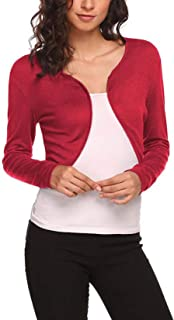 Elonglin Women Short Cardigan Long Sleeve Bolero Shrug Light Knit Cardigan Open Front Thin Knitwear