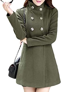 Women Fashion Warm Double Breasted Long Sleeve Long Coat Trench Overcoat Jacket