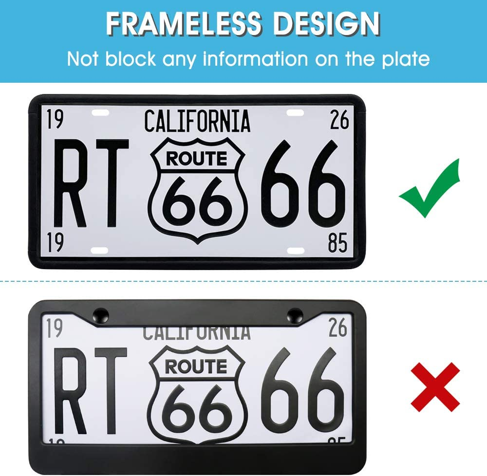 Modern Rust-Proof Premium Universal Car License Plate Holder with Drainage Holes JIWINNER Silicone License Plate Frame Weather-Proof and Rattle-Proof License Plate Frame for Car