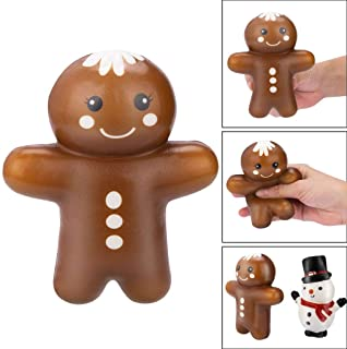 2 Packs Gingerbread Snowman Squishy Toys Christmas Stress Relief Toys Slow Rising Squishes for Adults and Kids Christmas Party Favors (A)