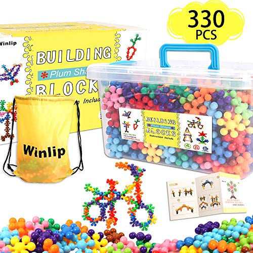 330 pcs Building Blocks Educational Building Toys Stem Toys Building Discs Sets Interlocking Solid Plastic for Preschool Toddlers Girls and Boys by Winlip