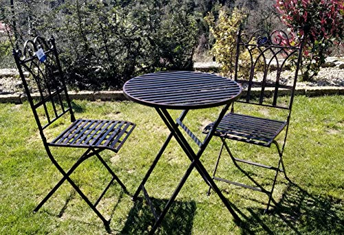 Itemint Juego de mesa de comedor + 2 sillas de hierro forjado negro efecto envejecido mobiliario de jardín, A listoni