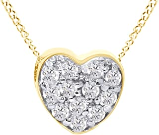 Pave Natural Diamond Petite Heart Pendant Necklace in 14K Solid Gold (1/4 Ct)