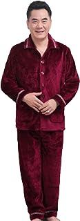 [サ二ー] メンズ ルームウェア 暖かい 厚手 フラノ 部屋着 ゆったり 上下セット パジャマ ロング丈 秋冬 ナイトウェア 大きいサイズ ポッケト付き 男性 二点セット 前開き ストライプ