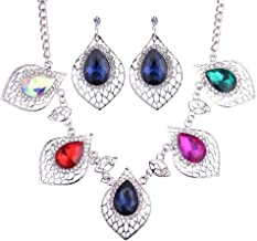 Jewelry مجوهرات Elegant Crystal Leaf Shape Necklace Earrings Set Charms Gemstone Pendant Jewellery Set Dress Decoration for Women Girl (Colorful),Colour Name:Deep Blue جواهر سازی (Color : Colorful)