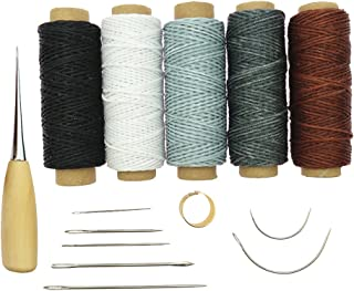 Baosity 14 Pieces Curved Upholstery Hand Sewing Needles with Leather Waxed Thread Cord Drilling Awl and Thimble for