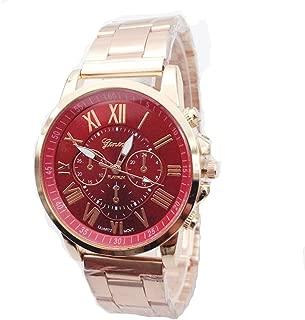 Geneva Mens Womens Unisex Stainless Steel 2380-Gold-GEN Gold Tone Classic Faux Chronograph Analog Quartz WristWatch-RED Face