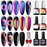 Cat Eye Gel Nail Polish, Modelones Black Galaxy Gel Collection Chameleon Magnetic Glitter Shining Nail Gel Polish with Magnet Stick Base Matte Top Coat 6Pcs 10ml