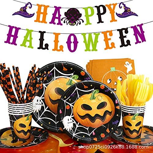 Juego de accesorios de Halloween para fiestas, juego de vajilla de fiesta con vasos de cartón, pancartas, servilletas, decoración para fiestas de Halloween para niños, fiestas espeluznantes, jardín