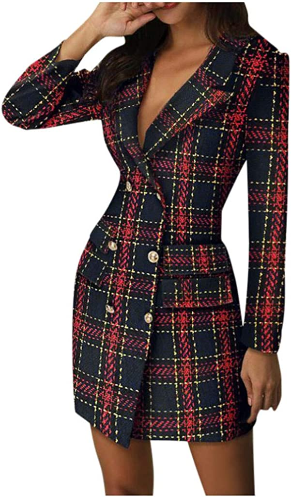 Mikey Store Lady Today's only Work Bodycon Blazer cheap Dress Women Down Neck Turn