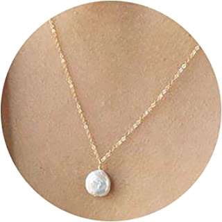 \u15f0E\u1587GI\u144e\u15e9TIO\u144e byJTSjewelry June Birthstone Birthstone Necklace Baroque Pearl Pendant Necklace With Aquamarine and Topaz for Her