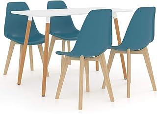 Festnight Ensemble 1 Table et 4 Chaises pour Salle à Manger ou Maison Turquoise
