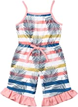 Toddler Baby Girls One Piece Romper Bodysuit Pink Sleeveless Halter Leaves Printed Waist Belt Hawaiian Jumpsuit Outfits 0-5Y