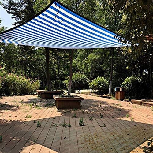 Camouflage Net Shade Netting 85% Shade Sail Sun Shade Stoff Mesh Shade Stoff Mit Blauen Und Weißen Streifen Binden Auftragen, Um Eine Gartenterrasse Balkon Zu Pflanzen(Size:4 * 8m)