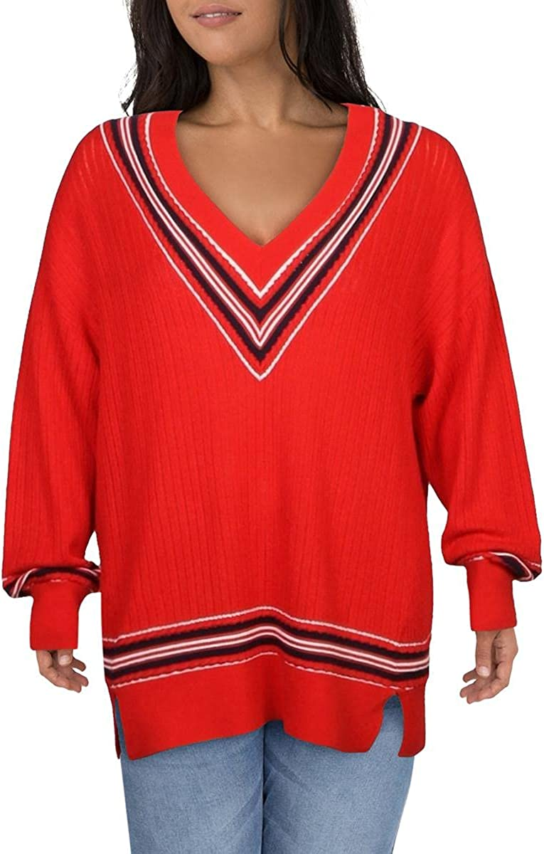 rag & bone Womens Dianna Wool Blend Oversized V-Neck Sweater