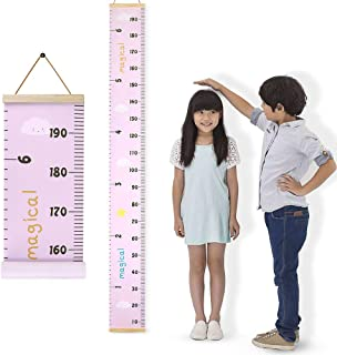 DodoBee Kids Growth Chart, Height Measurement Wall Ruler for Baby & Adult, Protable Wood Frame Fabric Canvas Baby Measuring Tools Wall Hanging Height Chart, Easy to Install & Remove (7.9 x 79 in)