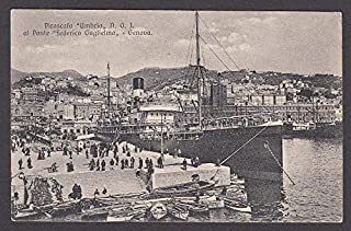 Steamship Umbria at port Federico Guglielmo Genoa Italy postcard 1910s