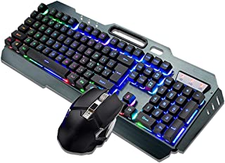T angxi Wireless Keyboard Mouse Kit, Mechanical Gaming Keyboard and Mouse Kit 2400dpi Optical Mouse Waterproof Mechanical Feel Keyboard