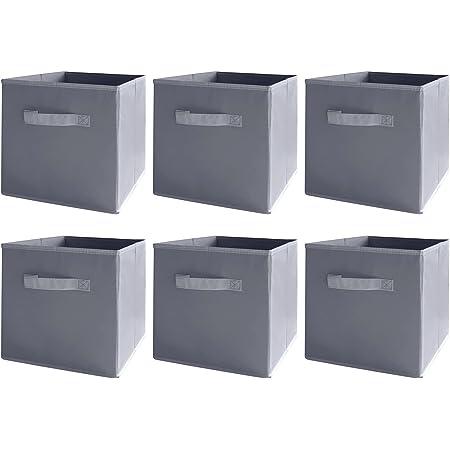BAAB ORGANIZING Lot de 6 boîtes de rangement cubiques pliables avec poignées pour la maison, le bureau, la crèche, la salle de sport (gris)