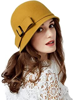 d45e0a41837 FADVES Women Solid Color 100% Wool Winter Hat Women Cloche Bucket Bowler  with Bowknot