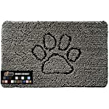 Gorilla Grip Original Indoor Durable Chenille Doormat, 24x17, Absorbent Machine Washable Inside Mats, Low-Profile Rug Doormats for Entry, Mud Room Mat, Back Door, High Traffic Areas, Paw Gray
