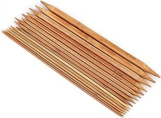 75Pcs Aiguilles à tricoter en bambou, Aiguilles à tricoter à double pointe, 15 tailles de 2mm à 10mm (Longueur: 20cm)