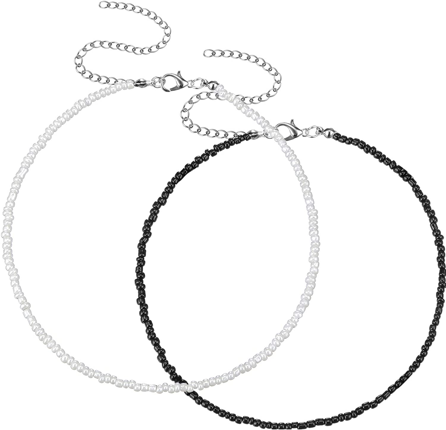 Hicarer 2 Pieces Bead Seed Necklaces Choker San Antonio Mall Max 80% OFF Bohem