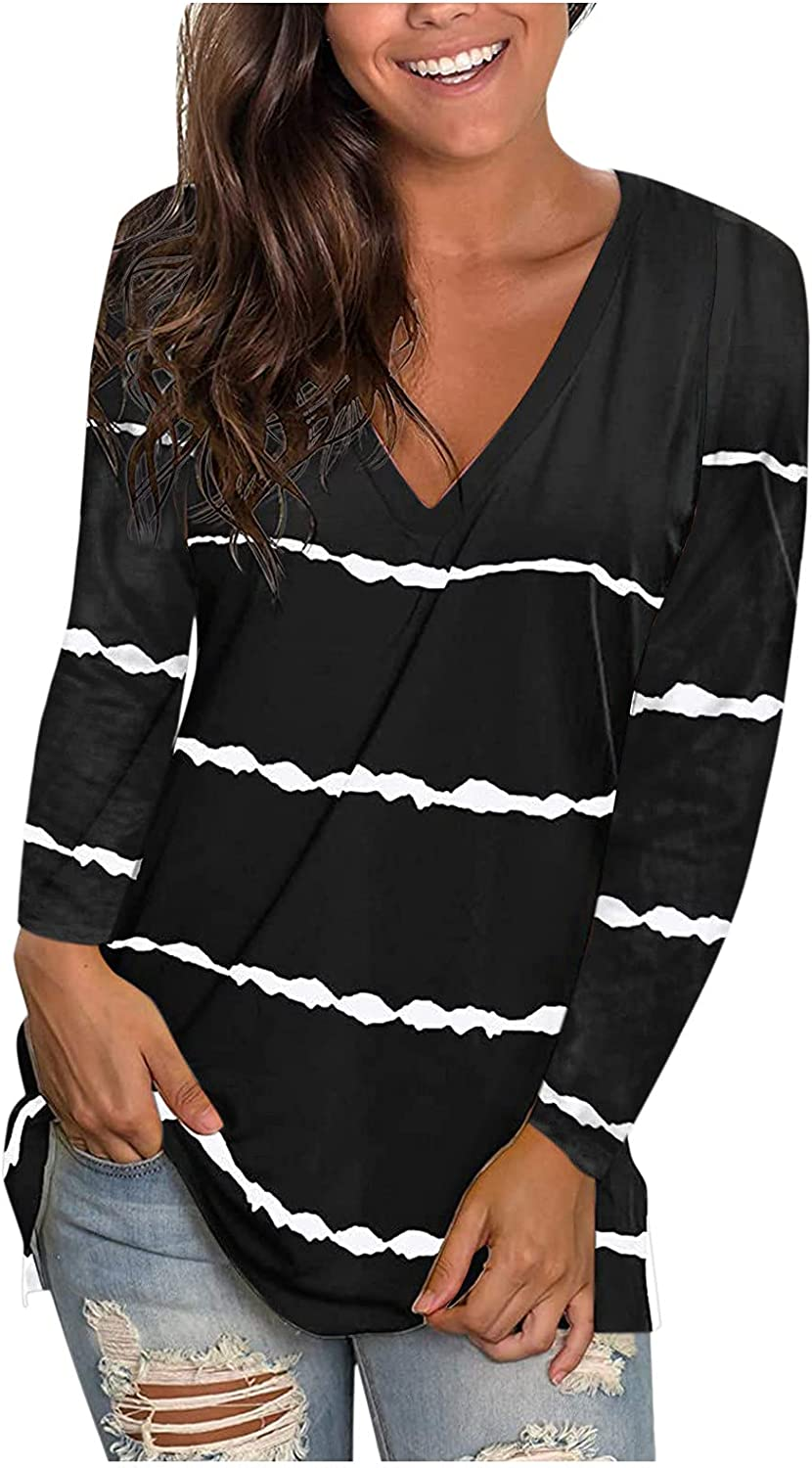 Jaqqra Womens Long Sleeve Tops, Womens Casual Striped Side Split V-Neck Long Sleeve Bloluse Tops Loose Pullover Shirts