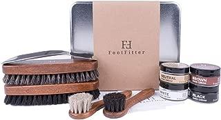 FootFitter Shoe Shine Valet Refill Set - 100% Horsehair Brushes, Shoe Creams, Shoe Horn, Microfiber Shine Cloths!