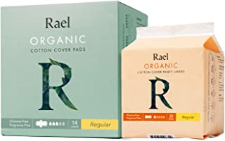 Rael Organic Cotton Sanitary PadsRegular Liners 1 Pack, Regular Pads 1 Pack (20 Liners, 14 Regular Pads)