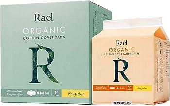 Rael Organic Cotton Sanitary PadsRegular Liners 1 Pack, Regular Pads 1 Pack (20 Liners, 14 Regular Pads)