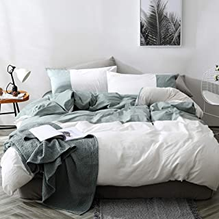 mixinni Modern Duvet Cover Set Queen Soft Cotton Green Geometric Patchwork White Bedding Set with Zipper Ties Comforter Cover Set-Hypoallergenic,Easy Care, Soft and Durable-Queen/Full Size