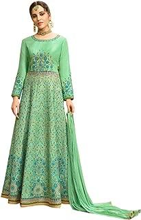 Green Elegent Muslim Silk Anarkali Skirt Pants Style Gown Pakistani Abaya Festive Dress Salwar Kameez Suit 7205