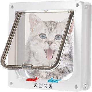 Solapa para Puerta de Mascotas IWILCS Solapa para Gatos Solapa para Perros con t/únel para Gatos o Perros peque/ños Solapa para Gatos con Cierre magn/ético de 4 v/ías Blanco