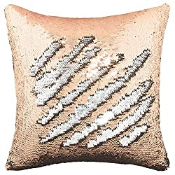 Champagne-Silver Flip Sequin Pillow Cover Throw