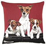 Authentic Jacquard Cotton Woven European Tapestry Throw Pillow Covers Cases / Decorative Gifts / Home Decor Cushion Cover Protector 18X18 Dogs Jack Russell Puppies in Vintage Classic Convertible Car