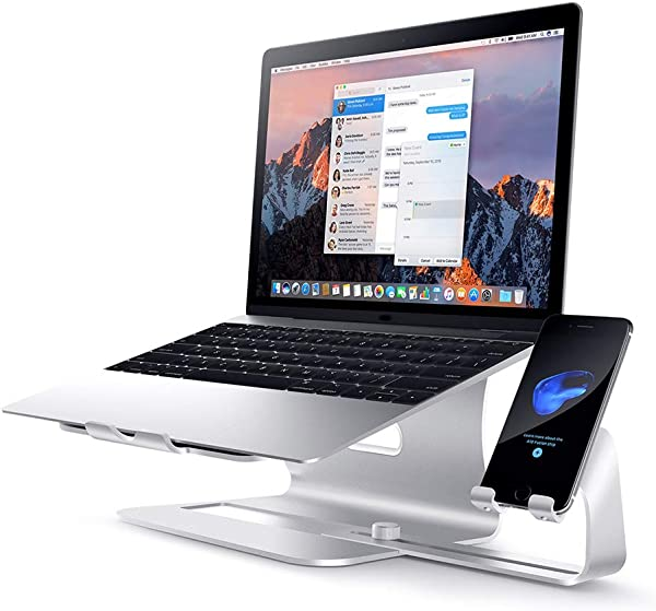 Laptop Stand Portable Adjustable Laptop Stand Desk Bed Stand Reading Table White Silver
