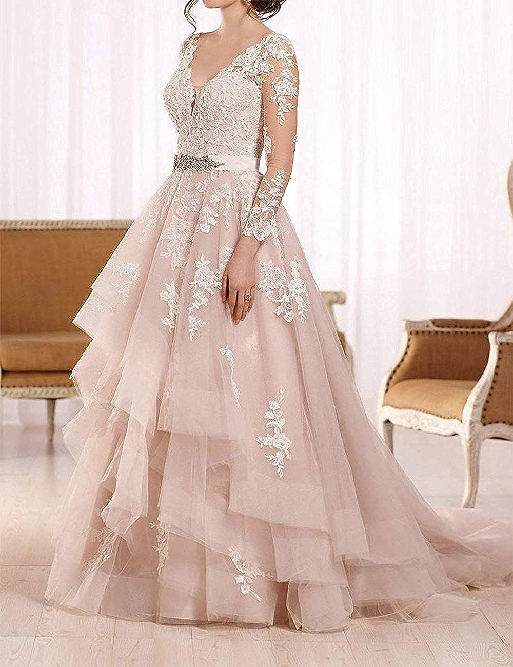 HUINI Robe de Mariée Princesse Manches Longues Robe Mariage Femme Double V-col Tulle et Dentelle Rose